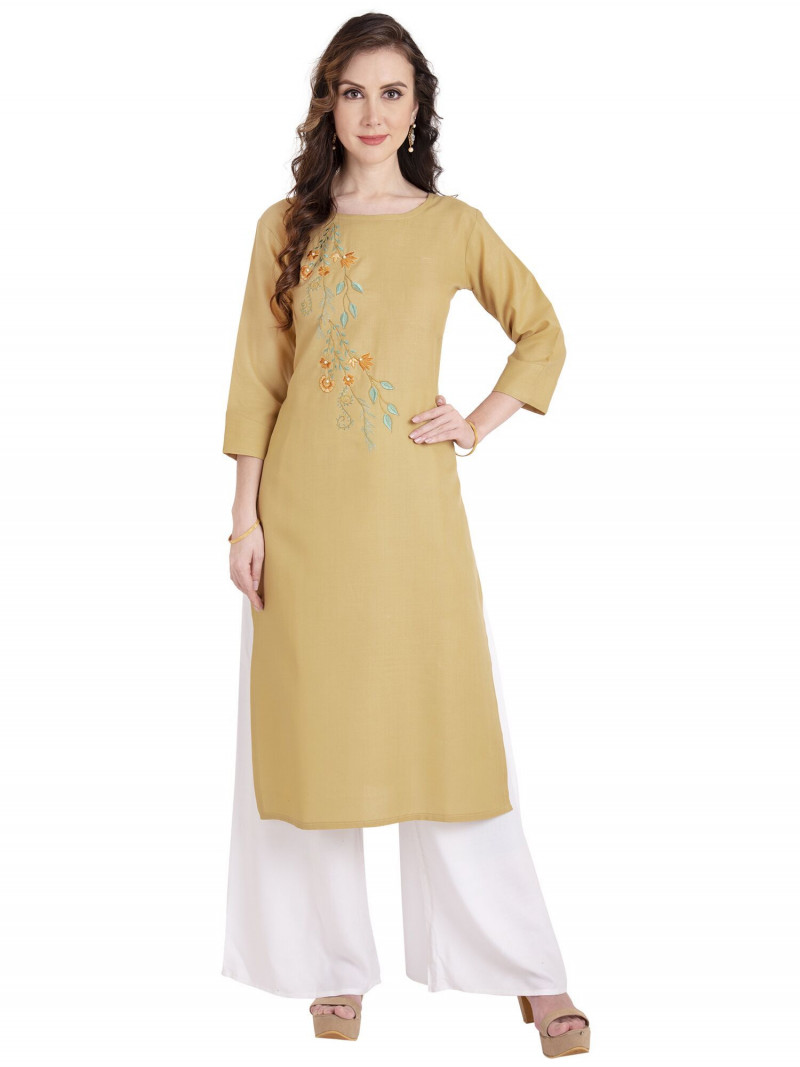 Mustard Cotton Round Neck Straight Kurti