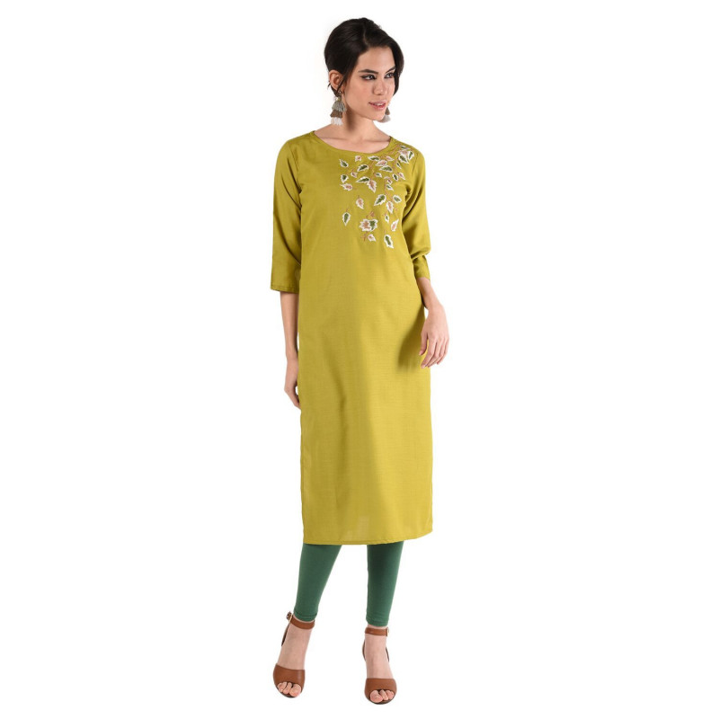 Mahendi Cotton Floral Embroidery Kurti