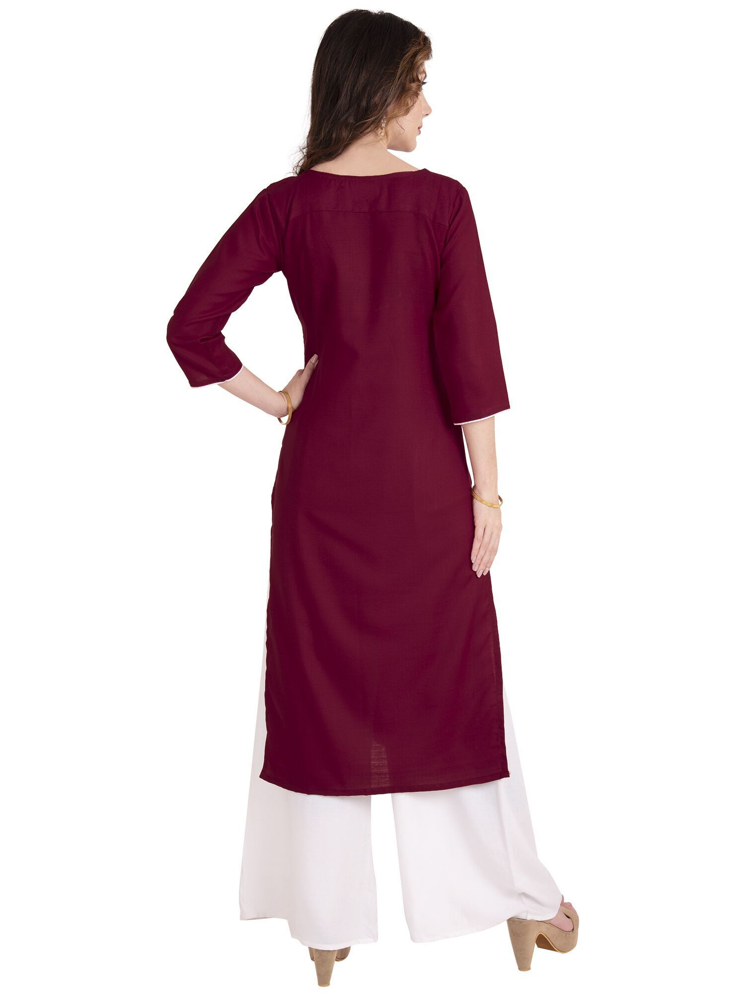 Marron Cotton Embroidery Kurti