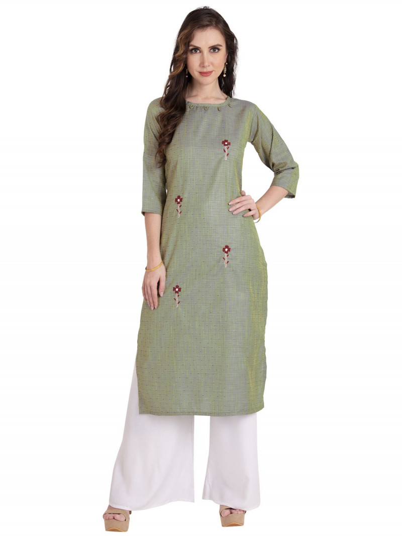 Olive Green Stylish Cotton Kurti
