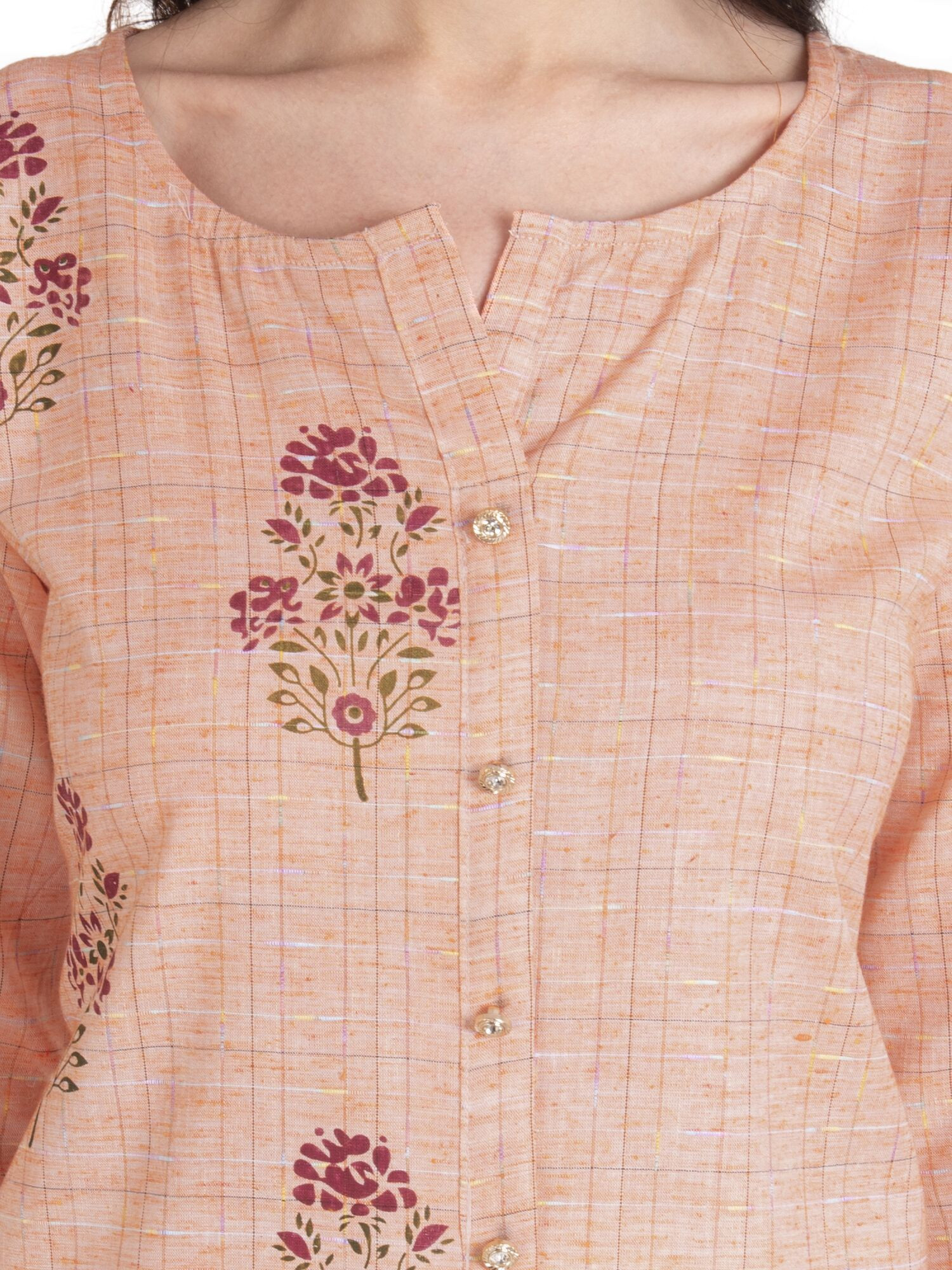 Peach Cotton Floral Embroidery Kurti