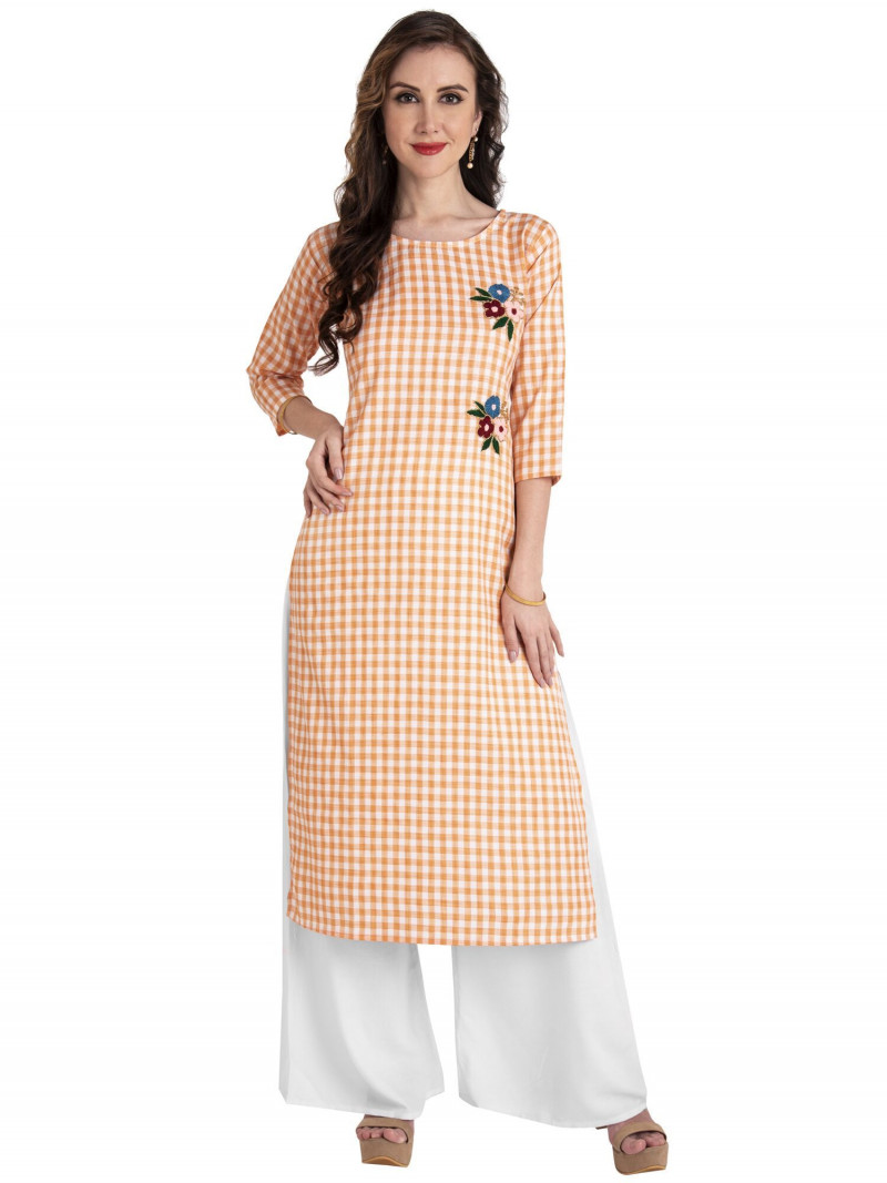 Orange Cotton Checks Floral Embroidery Kurti