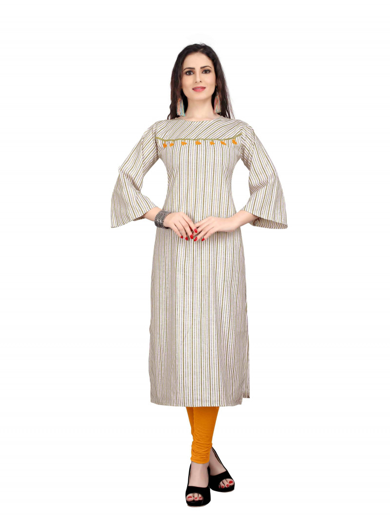 White Cotton Stripes Straight Kurti