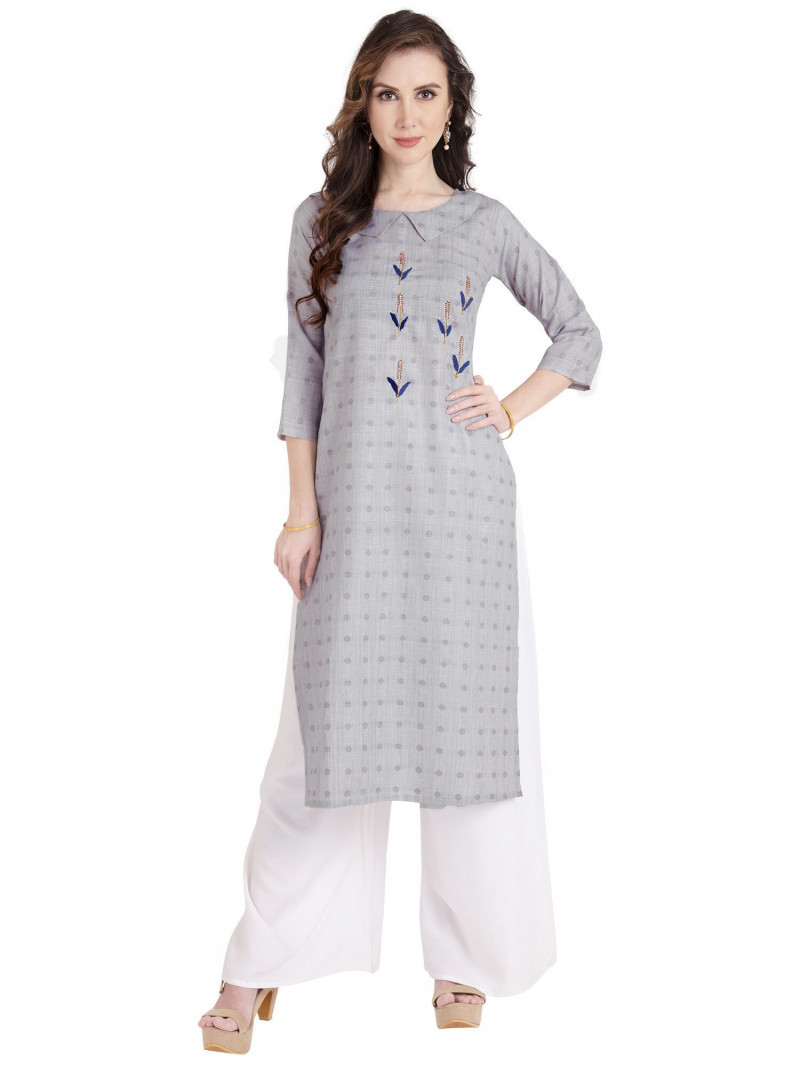 Grey Cotton Polka Dot Print Floral Embroidery Kurti