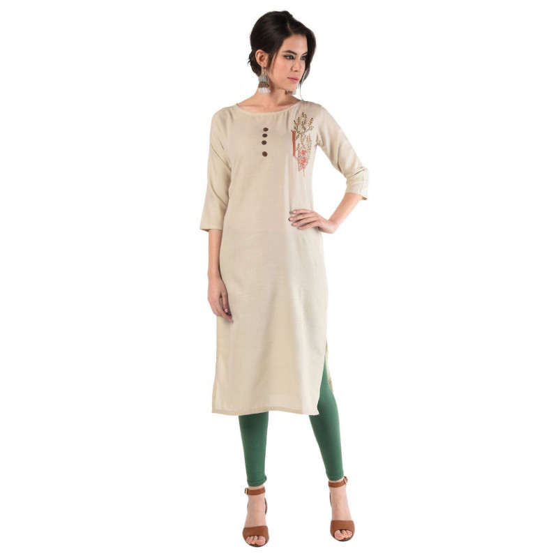Beige Designer Cotton Embroidery Kurti