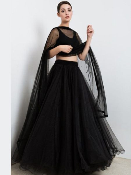 Stylish Party Wear Plain Black Net Lehenga Choli