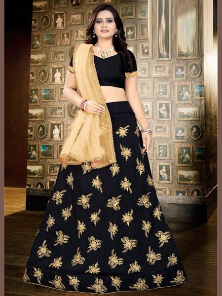 Designer Black Silk Lehenga with Golden Dupatta