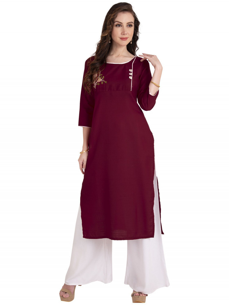 Maroon Cotton Embroidery Kurti