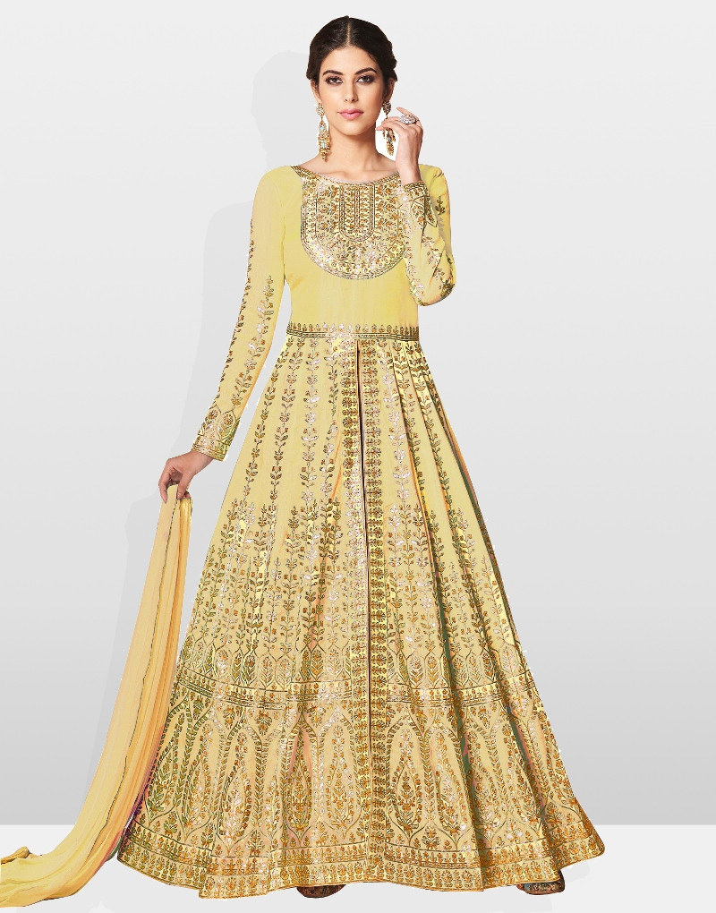 Indian Designer Yellow Embroidered Anarkali Dress 2020 For Wedding