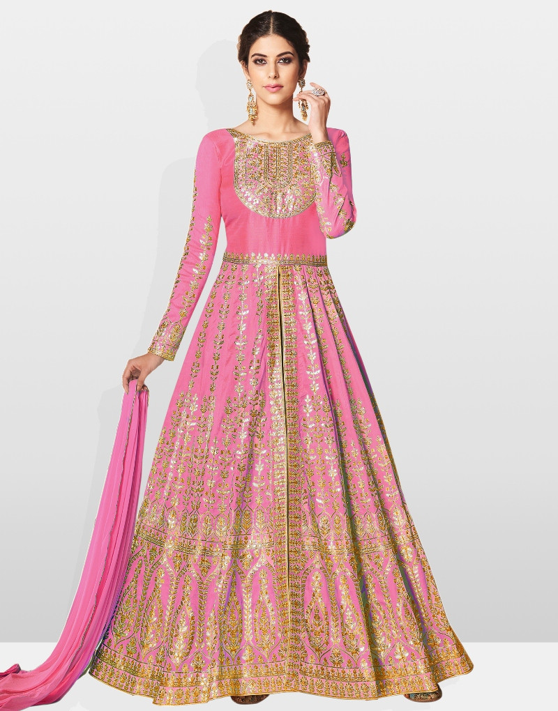 Latest Embroidered Silk Partywear Pink Long Frock Suit For Girls