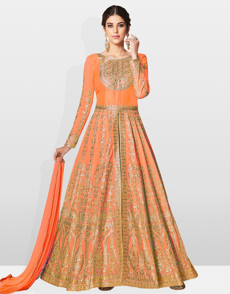 Purchase Beautiful Designer Orange Silk Party Wear Indian Anarkali Suit Online