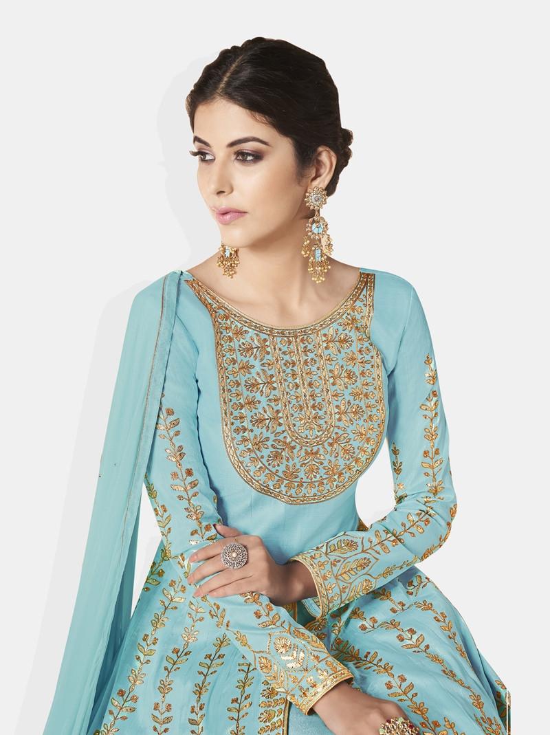 Latest Designer Ladies Sky Blue Long Silk Pakistani Anarkali Suit