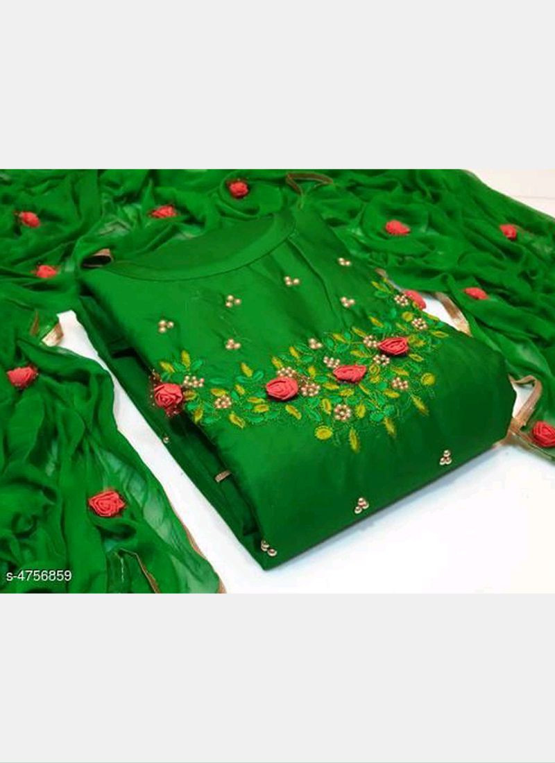 Green Floral Embroidered Cotton Salwar Suit
