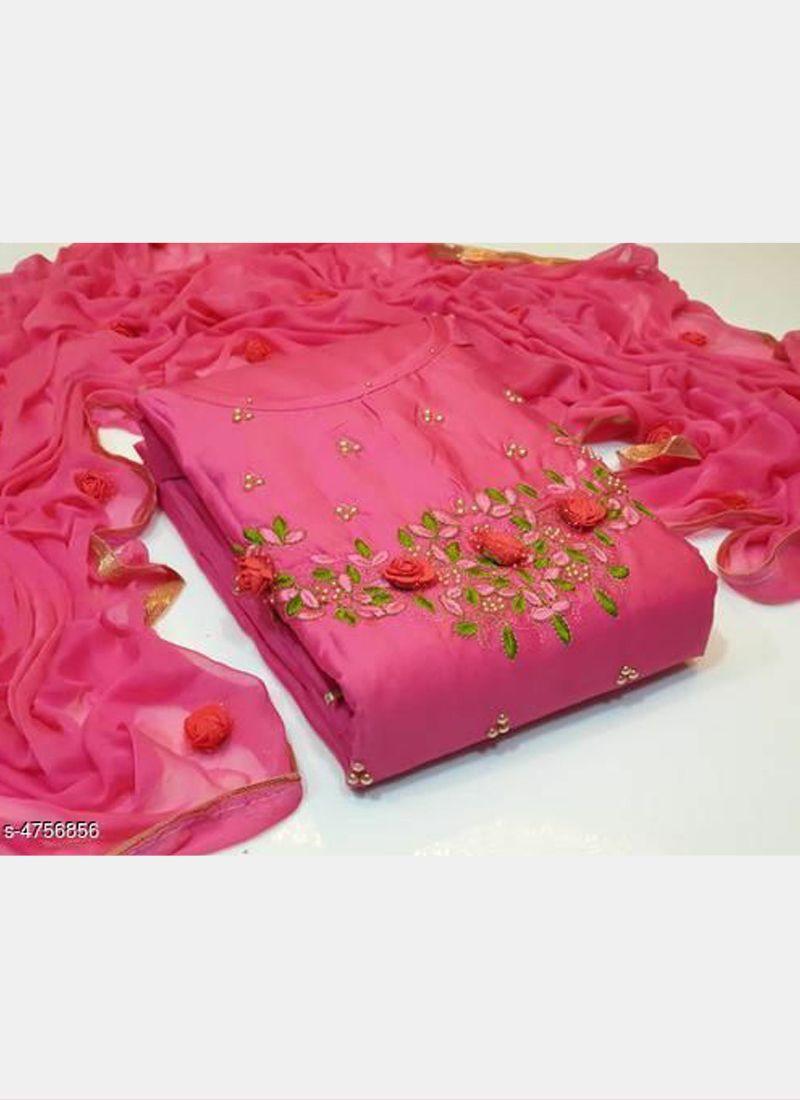 Pink Floral Embroidered Cotton Salwar Suit