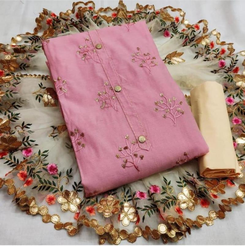 Designer Pink Embroidered Chanderi Dress Material
