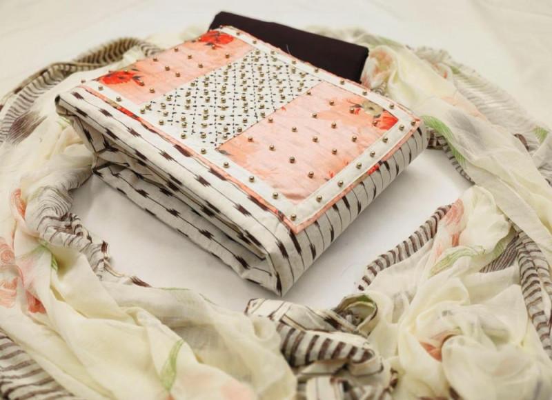 Purchase Peach Cotton Printed Churidar Dress Material Online