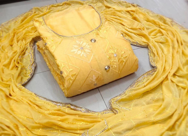 Purchase Yellow Embroidered Chanderi Silk Dress Material Online