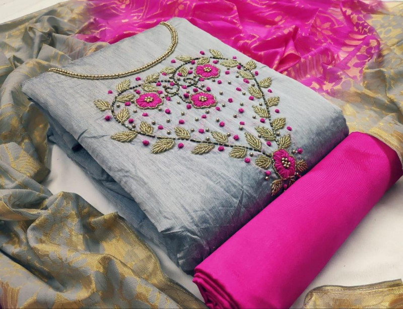 Purchase Grey and Pink Chanderi Work Unstitched Dress Material Online