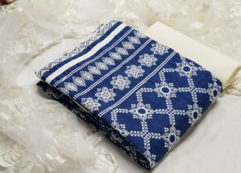 Purchase Blue and White Chanderi Embroidered Unstitched Dress Material Online