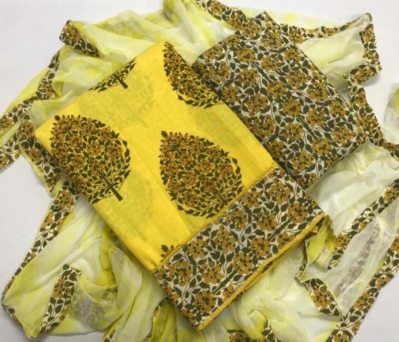 Yellow Cotton Printed Churidar Material