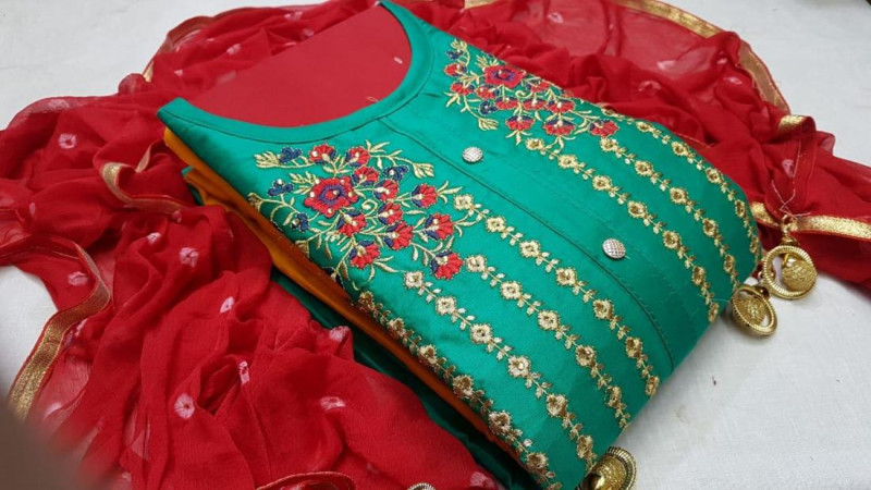 Green and Red Chanderi Silk Dress Material for Women