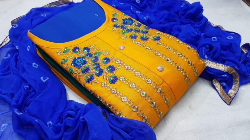 Yellow and Blue Chanderi Silk Dress Material for Women