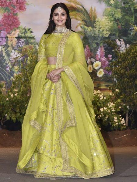 Alia Bhatt Sabyasachi Lime Green Bollywood Lehenga Choli in Silk