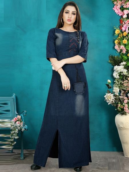 Navy Blue Stylish Denim Long Kurti with Side Slit