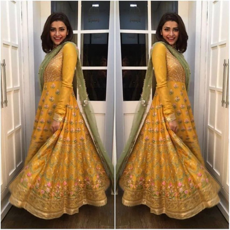 Purchase Prachi Desai Bollywood Style Yellow Silk Anarkali Suit Online From YOYO Fashion