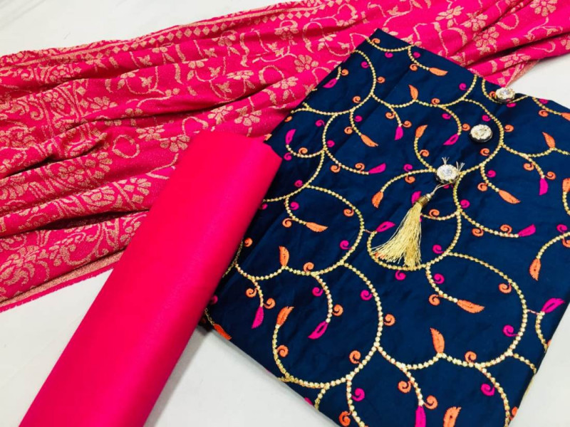 Blue and Pink Cotton Party Wear Suit Material