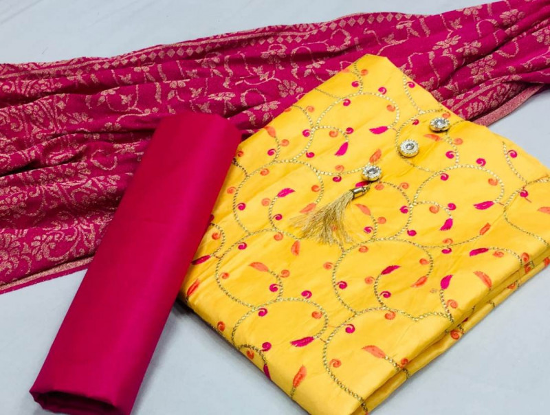 Yellow and Pink Cotton Churidar Dress Material