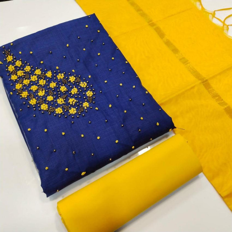 Blue and Yellow Cotton Unstitched Dress Material