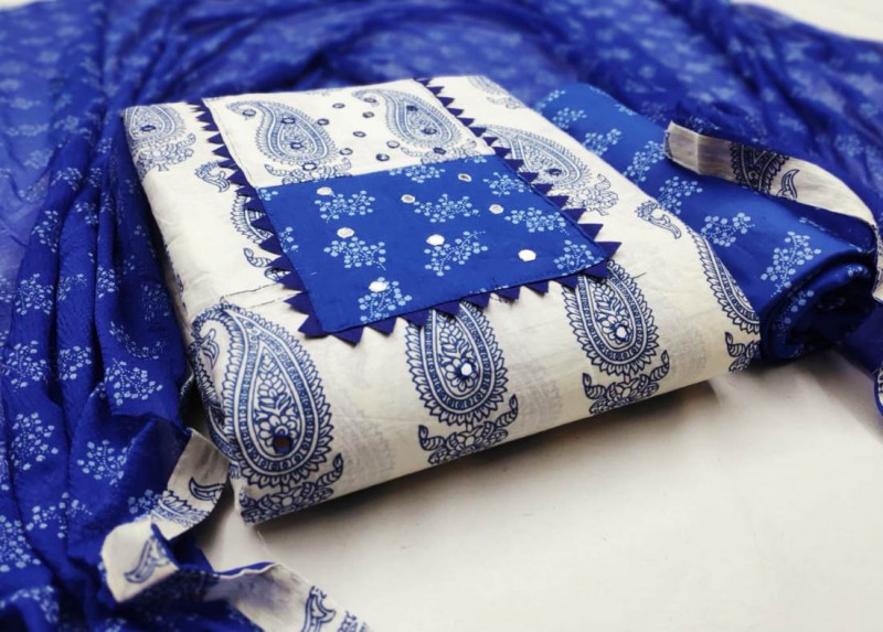White and Blue Cotton Printed Dress Material