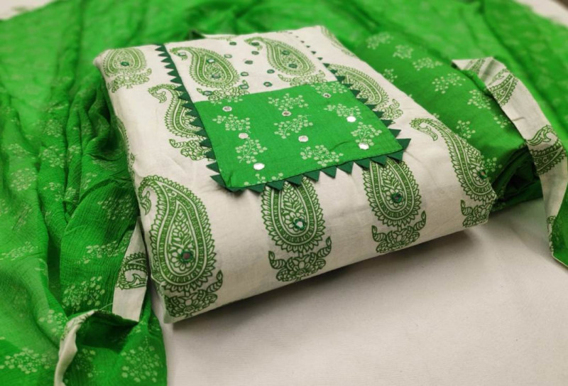 White and Green Cotton Printed Salwar Suit Material