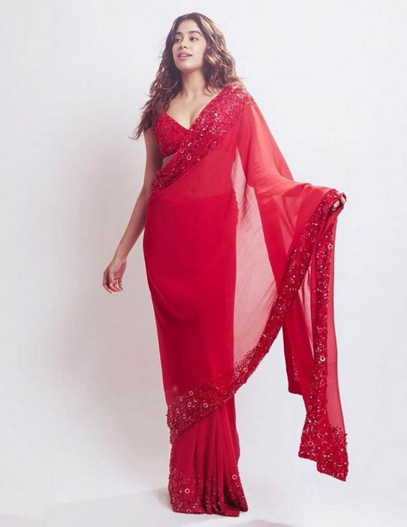 Buy Jhanvi Kapoor Red Georgette Embroidery Bollywood Saree Online from YOYO Fashion