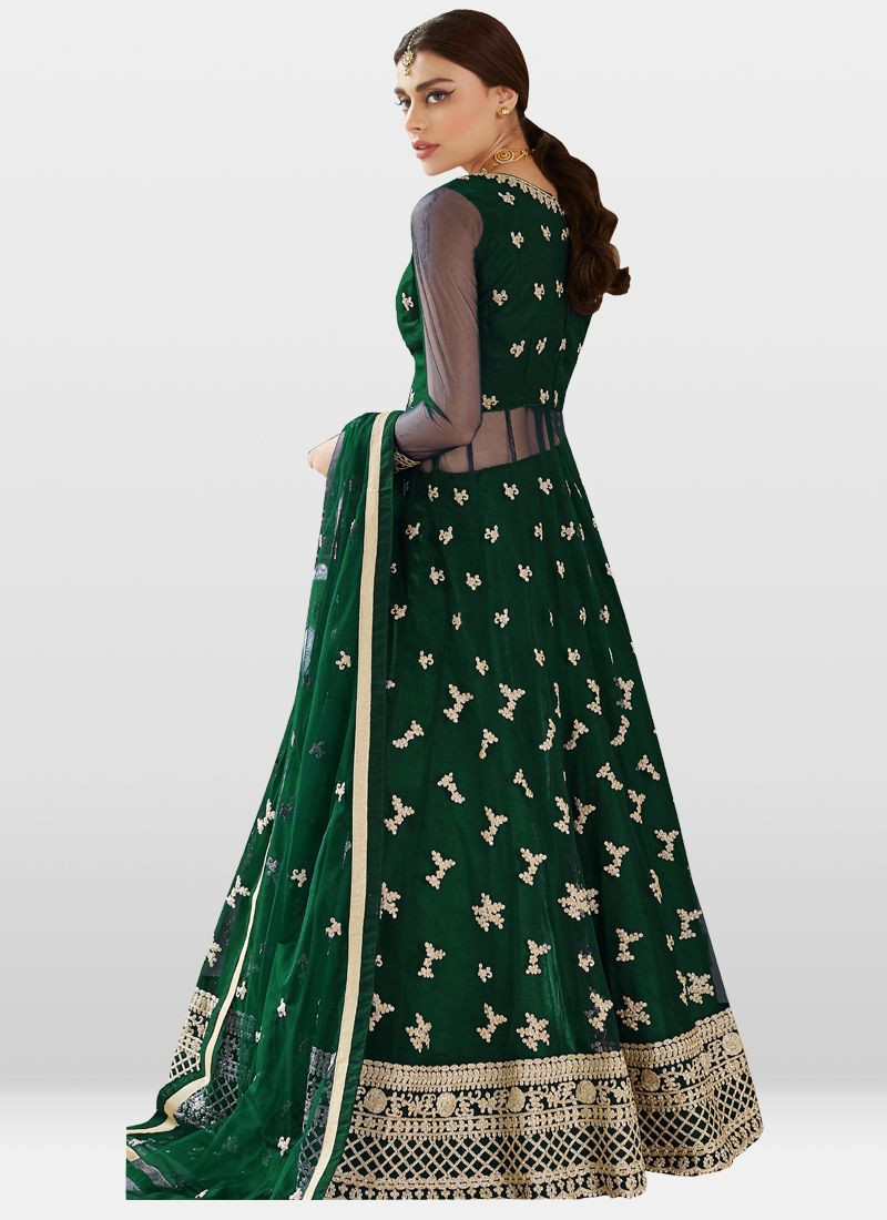 Pakistani Green Net Anarkali Salwar Suit Design