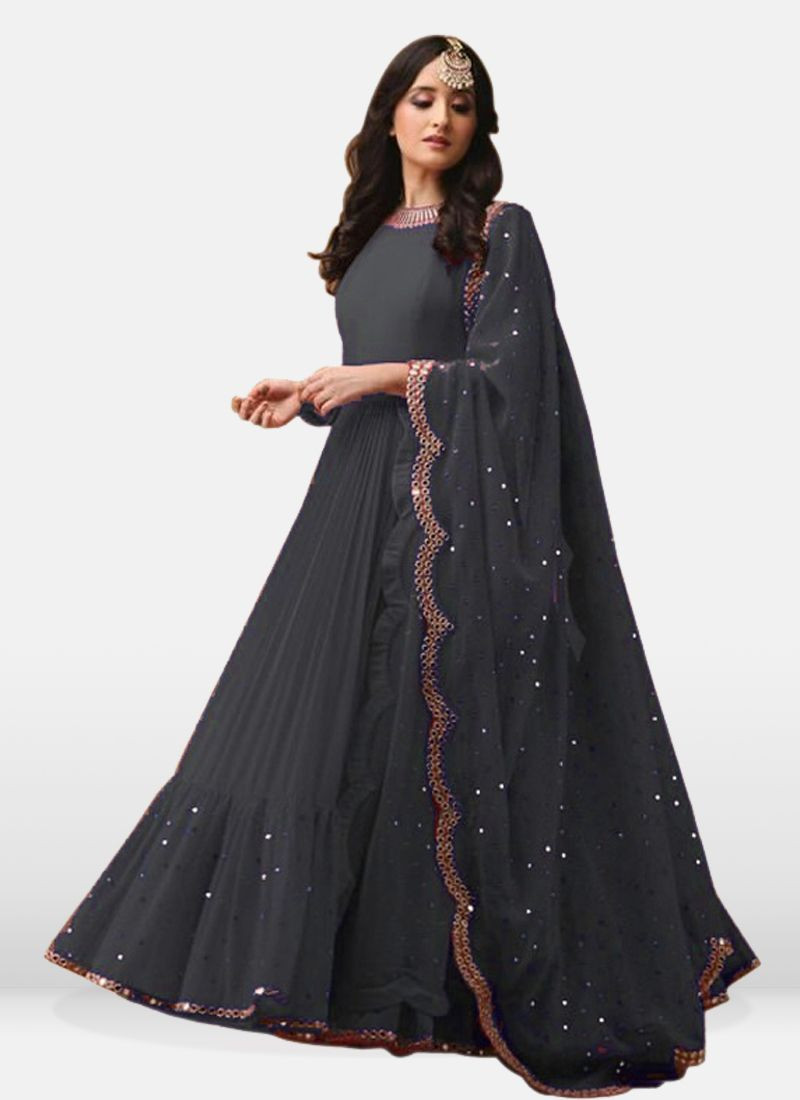 Simple Women Grey Georgette Long Anarkali Dress