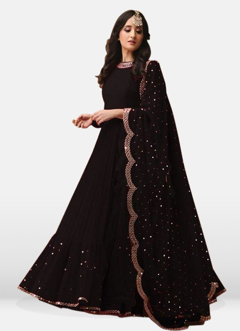 Stylish Partywear Black Long Frock Suit Design for Ladies