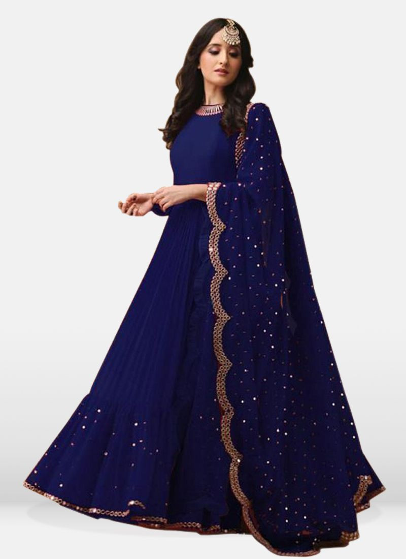 Latest Designer Navy Blue Floor Length Anarkali Suit