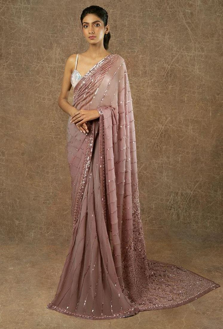 Buy Manish Malhotra Light Pink Party Wear Sequins Saree Online from YOYO Fashion
