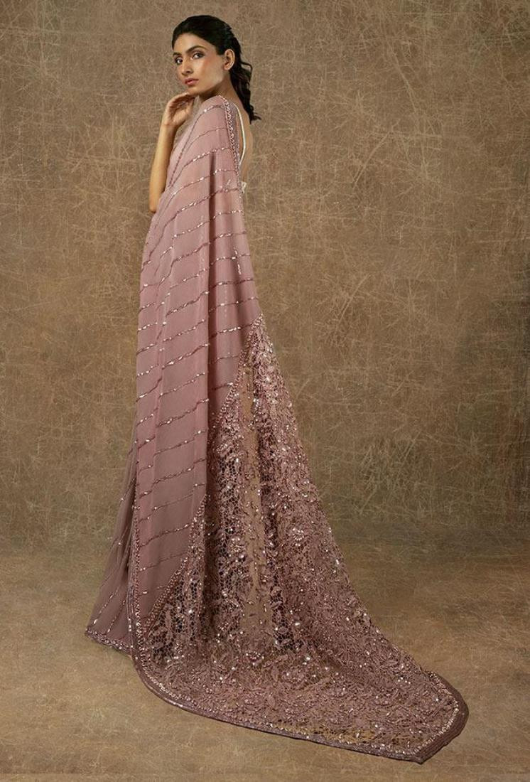 Manish Malhotra Light Pink Party Wear Sequins Saree