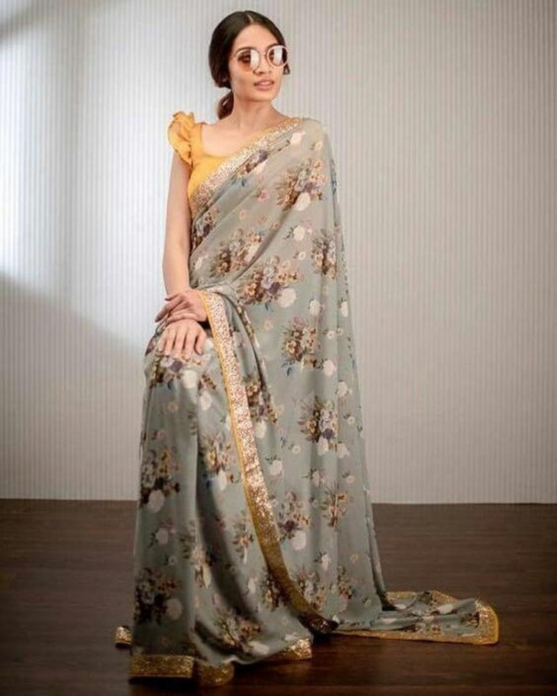 Buy Grey Party Wear Floral Printed Georgette Saree Online from YOYO Fashion