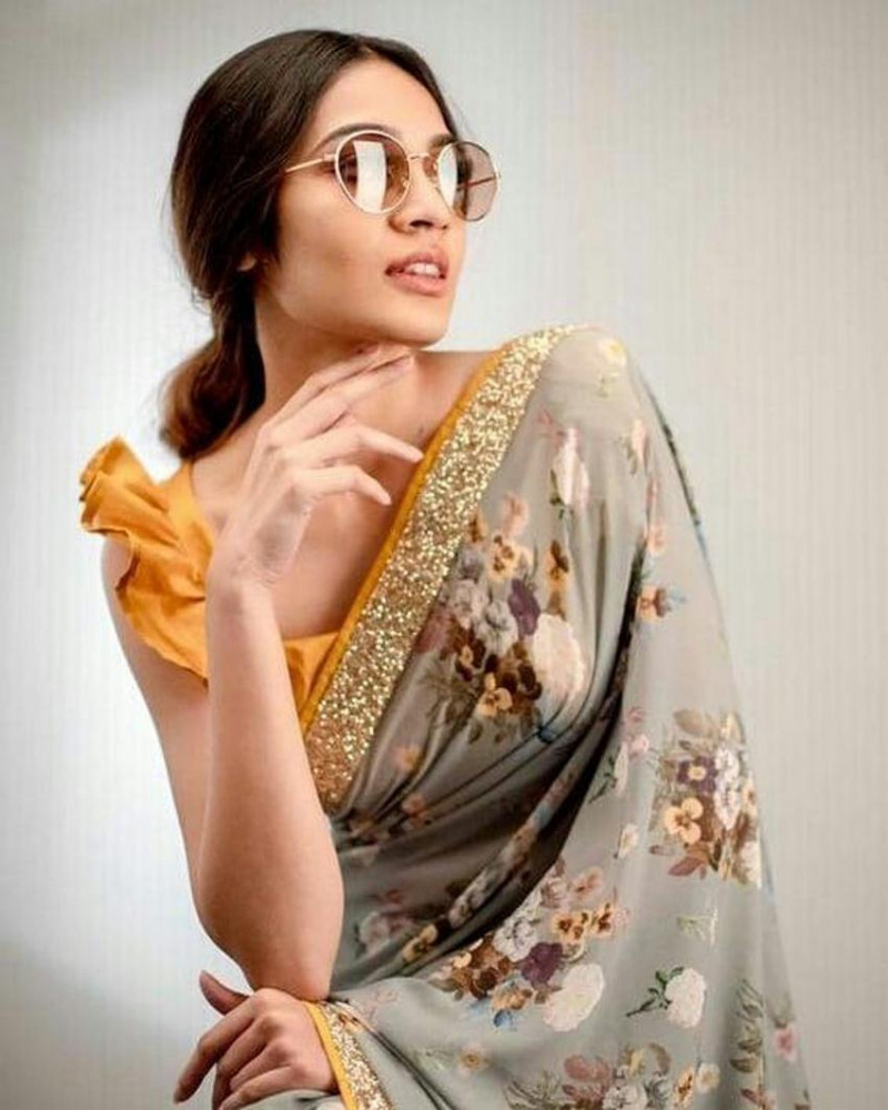 Grey Party Wear Floral Printed Georgette Saree