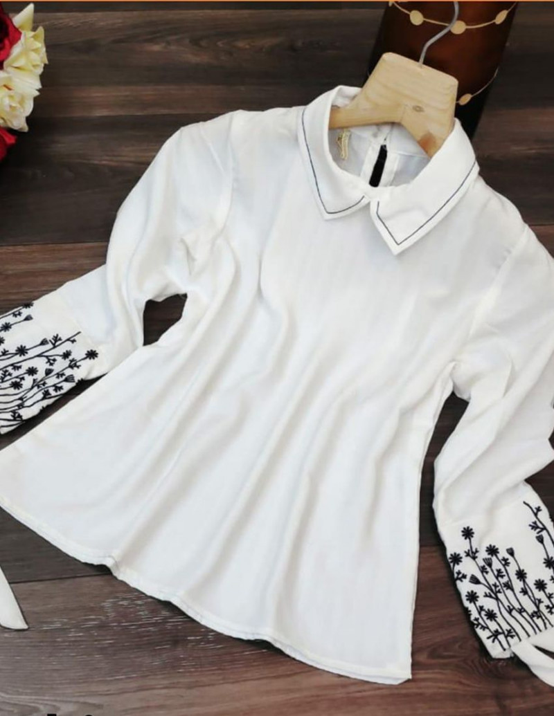 White Solid Embroidered A-Line Top