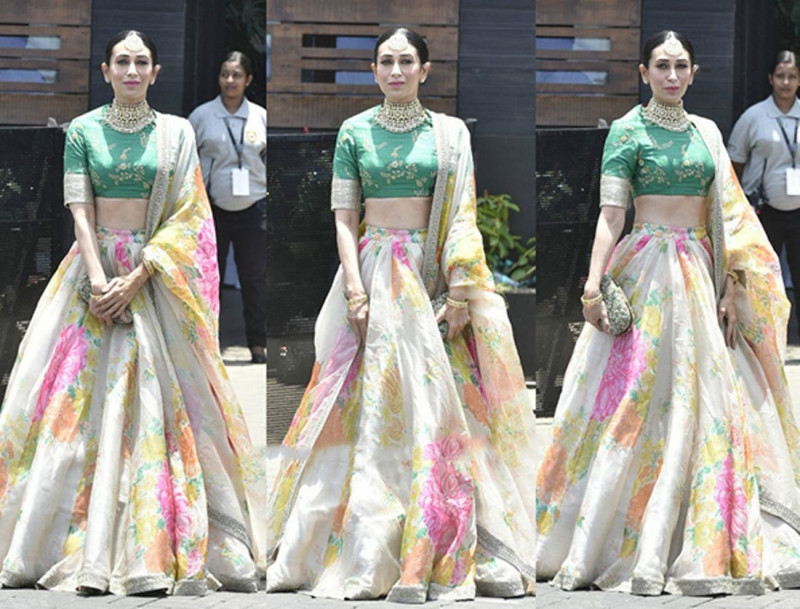 Buy Karishma Kapoor Sabyasachi White Designer Floral Printed Lehenga Online from YOYO Fashion