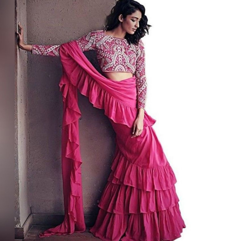 Buy Plain Pink Georgette Designer Ruffle Saree Online from YOYO Fashion
