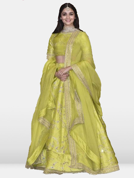Alia Bhatt Sabyasachi Lime Green Bollywood Lehenga Choli in Silk