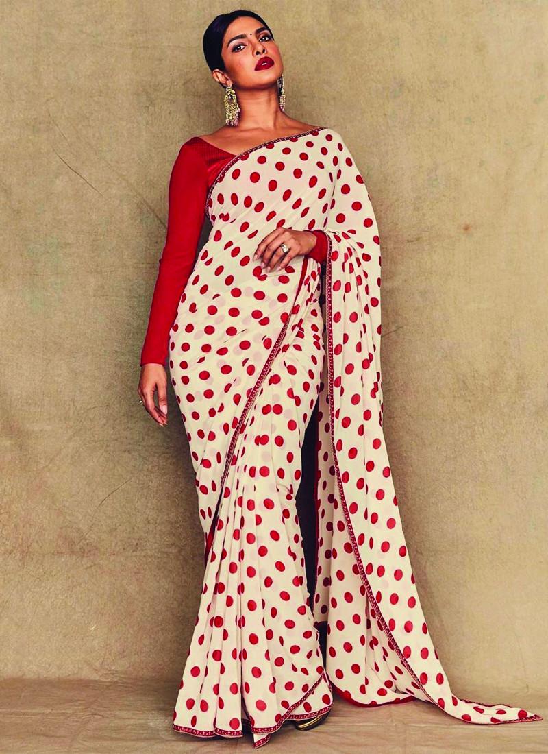 Purchase Priyanka Chopra Bollywood Style Red and White Polka Dot Saree Online From YOYO Fashion