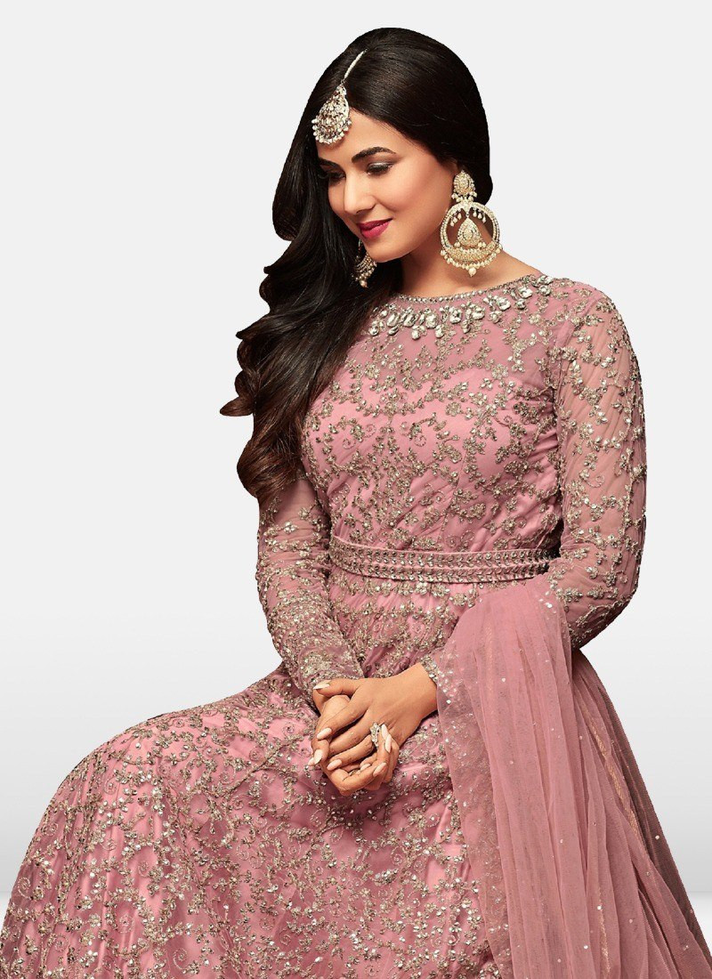 Sonal Chauhan Bollywood Style Pink Net Anarkali Salwar Suit