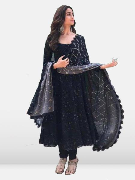 Alia Bhatt Embroidered Bollywood Designer Black Anarkali Suit